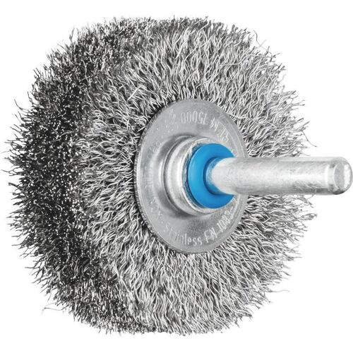Shaft Mounted Wheel Brushes RBU - Crimped INOX Wire - 6mm Shaft - Various Sizes