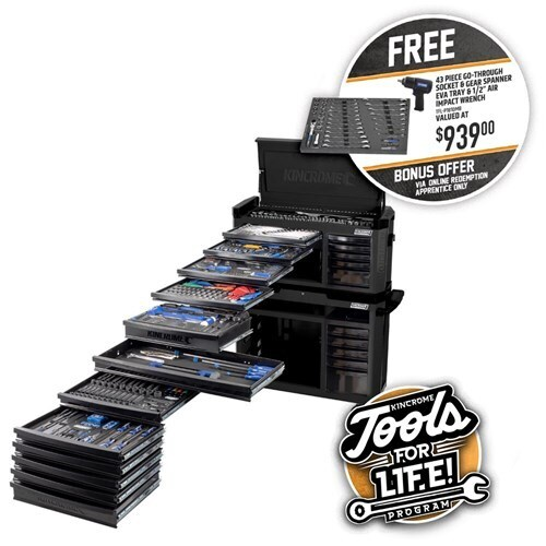 "CONTOUR® TOOL WORKSHOP 551 PIECE 22 DRAWER WIDE 1/4, 3/8 & 1/2"" DRIVE - BLACK SERIES"